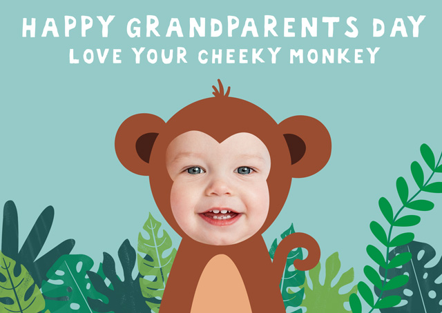 Create a Monkeys Grandparents Day Photo Card