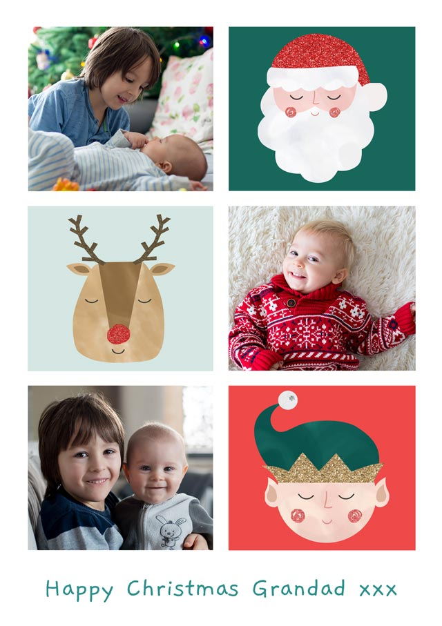 Create a Photo Christmas Card Collage 3 Illustrations Portrait Photo Card