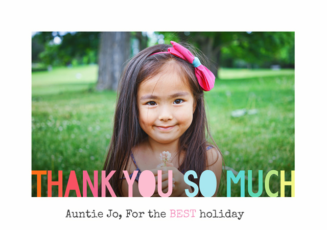 Create a Photo Thank You Card Coloured Text Photo Card