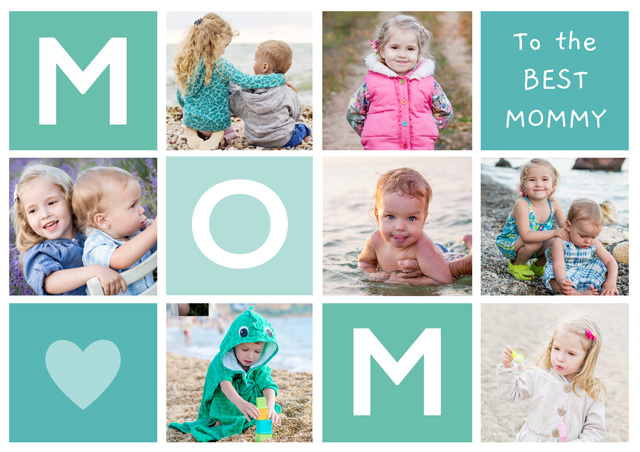 Create a Photo Mother's Day Card Mom 7 Photo Collage Landscape Photo Card