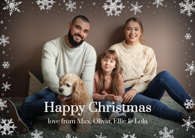 Create a Photo Christmas Card Snowflakes Landscape Photo Card