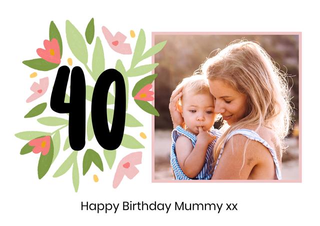 Photo Card Milestone Birthday Floral 40