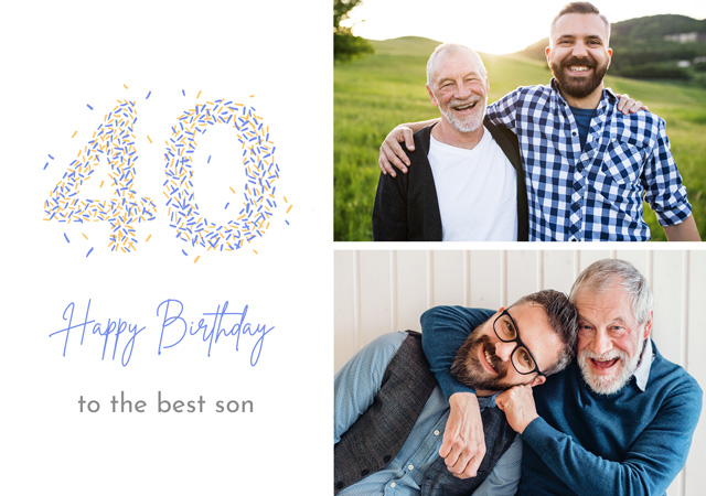 Photo Card Birthday Milestone 40 Sprinkles Collage