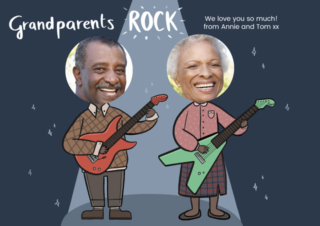 Create a Grandparents Rock Photo Card