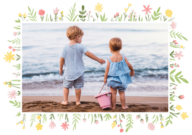 Create a Photo Mother's Day Card Flower Border Landscape Photo Card