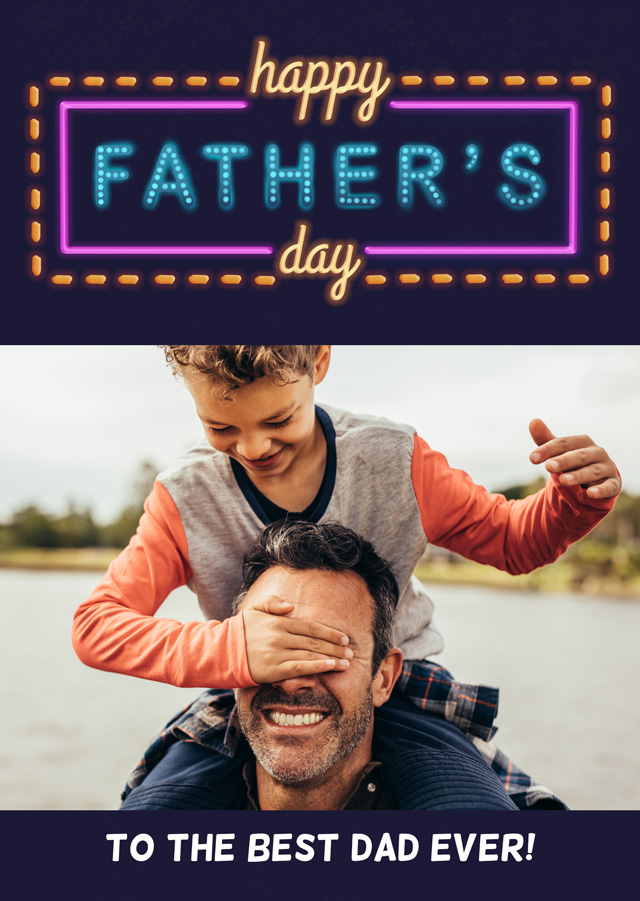 Photo Father's Day Card Neon Lights