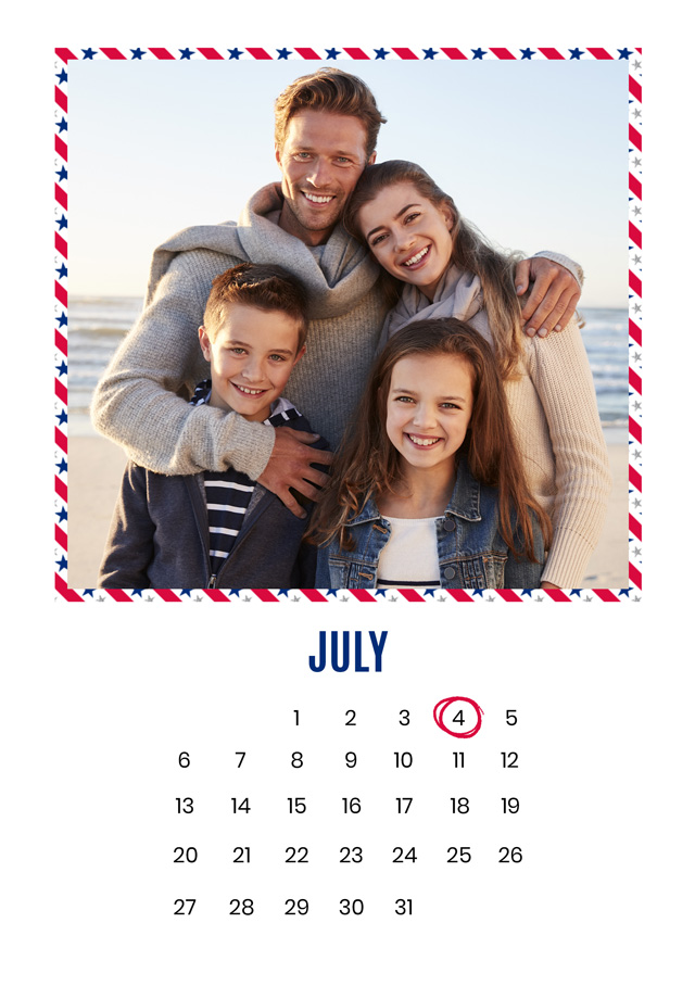 Create Photo Card 4th July Calendar Card
