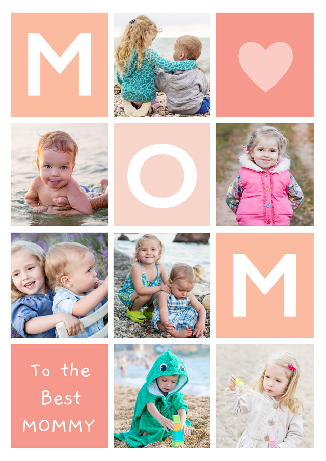 Create a Photo Mother's Day Card Mom 7 Photo Collage Portrait Photo Card