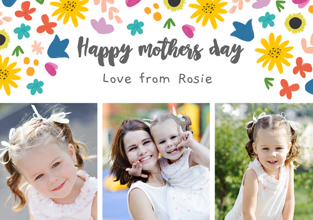 Photo Mother's Day Card Floral Pattern
