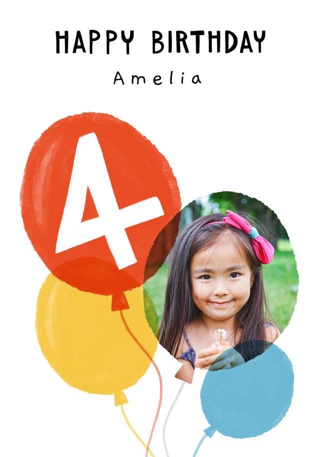 Create a Photo Birthday Card Balloon Milestone 4 Photo Card