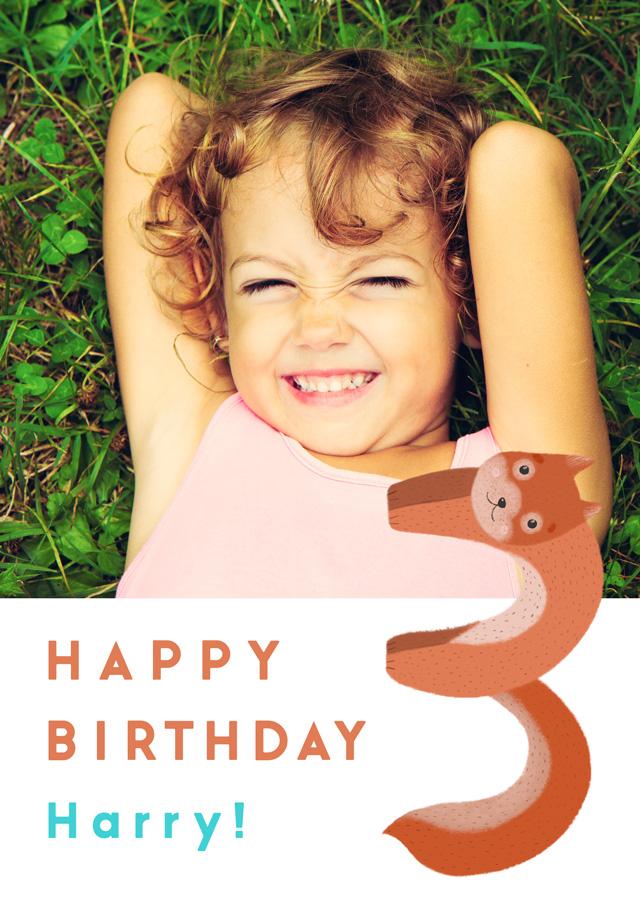 Create a Birthday 3 Squirrel Photo Card