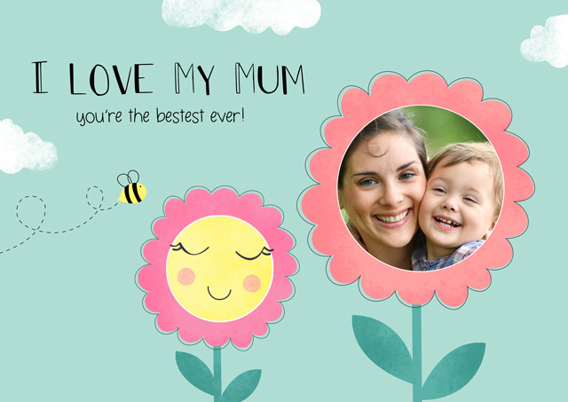 """Create a Mother's Day Flower 'I Love My Mum"""" Photo Card"""