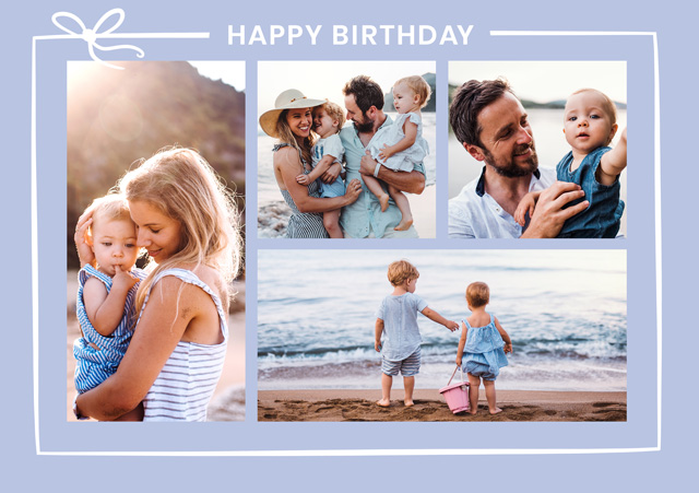 Create a Photo Card Birthday Collage With Ribbon Photo Card
