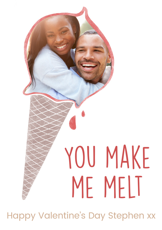 Create a Ice Cream Valentines Day Photo Card