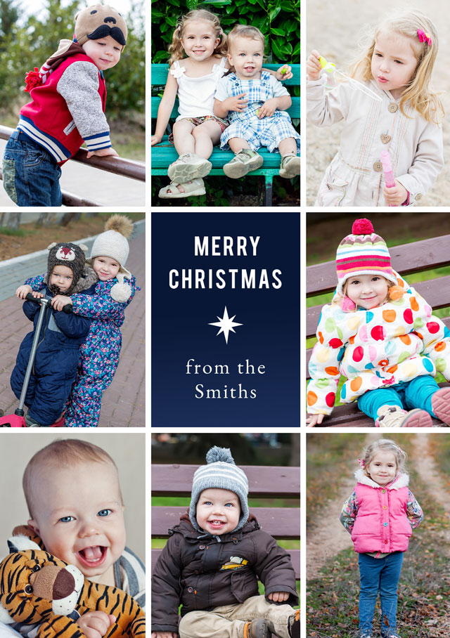 Create a Photo Christmas Card Collage Star Portrait Photo Card