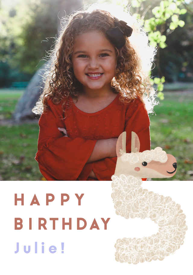 Create a Photo Birthday Card Milestone 5 Llama Photo Card