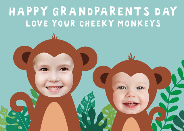 Create a Monkey X2 Granparents Day Greeting Card