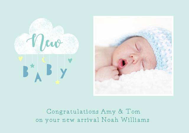 Create a New Baby Cloud Mobile Blue  Greeting Card