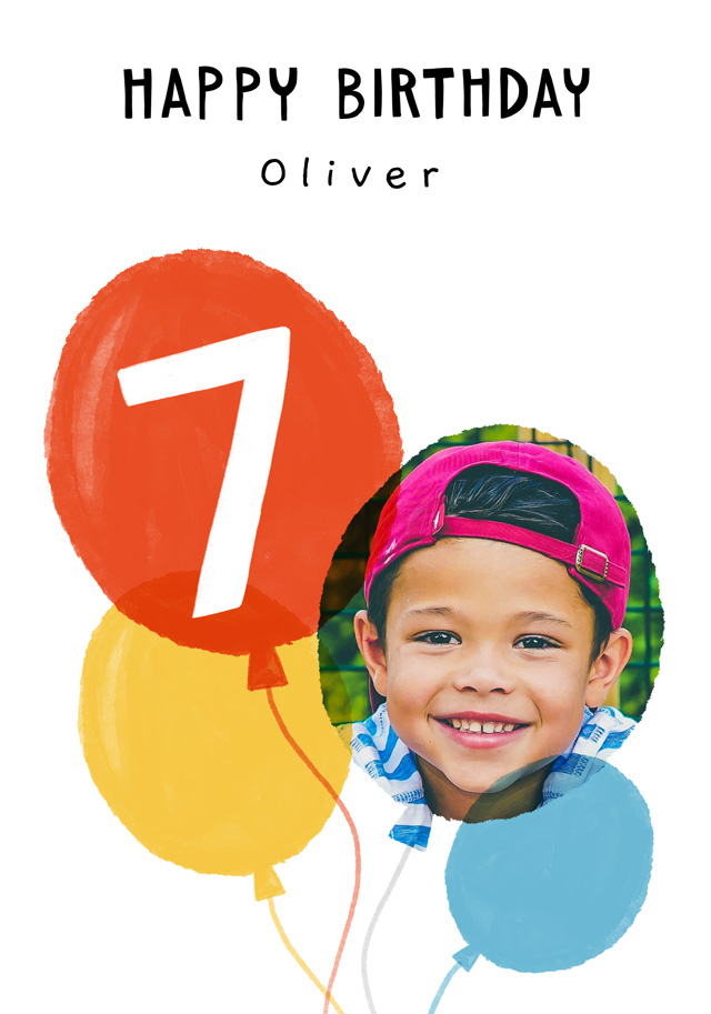 Photo Birthday Card Balloon Milestone 7