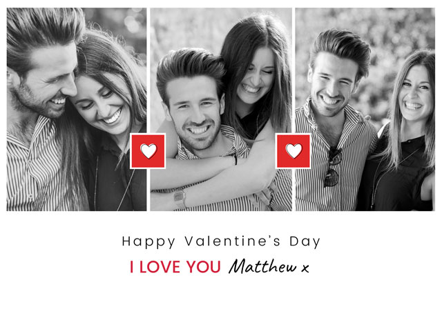 Create a Valentines Day X3 Portrait Collage  Greeting Card