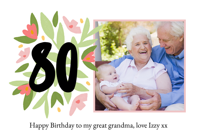 Photo Card Milestone Birthday Floral 80
