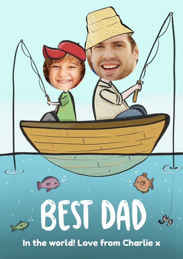 Create a Fishing Best Dad Photo Card
