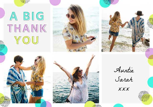 Create a Photo Thank You Card Collage Pastel Photo Card