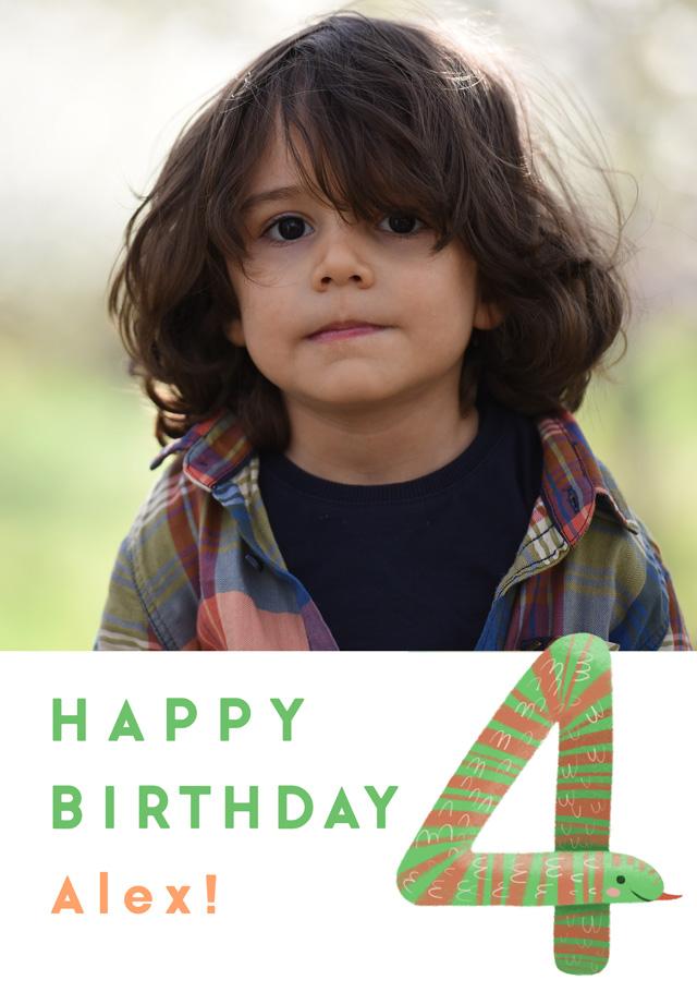 Create a Birthday 4 Snake Photo Card