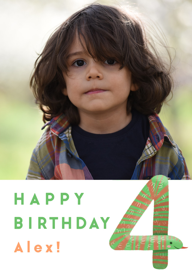 Create a Photo Birthday Card Milestone 4 Snake Photo Card