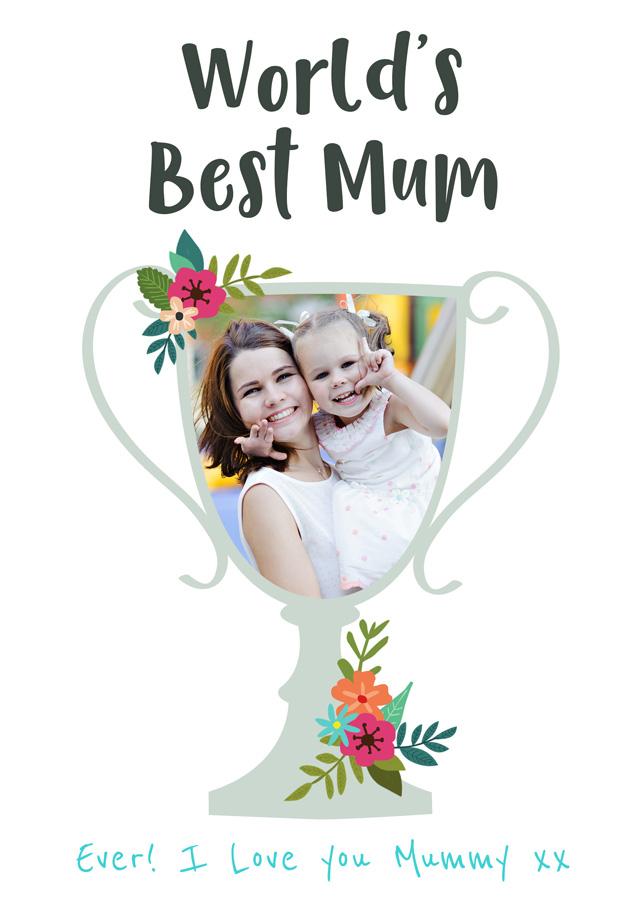 Create a World's Best Mum Trophy Photo Card