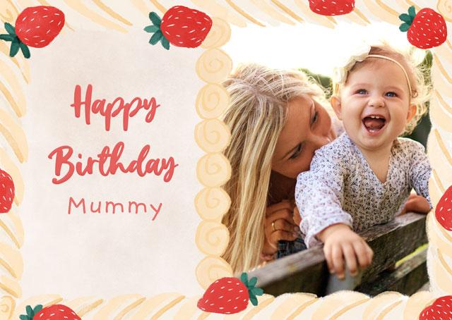 Create a Photo Card Birthday Cream Cake Photo Card