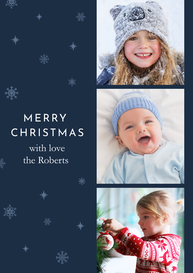 Create a Photo Christmas Card Collage Vertical Band Photo Card