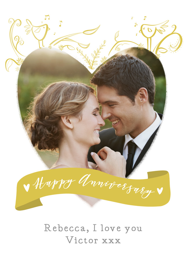 Create a Anniversary Birds Heart Photo Card