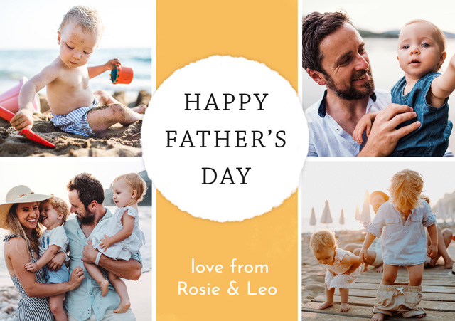 Create a Photo Father's Day Card Collage Circle Photo Card