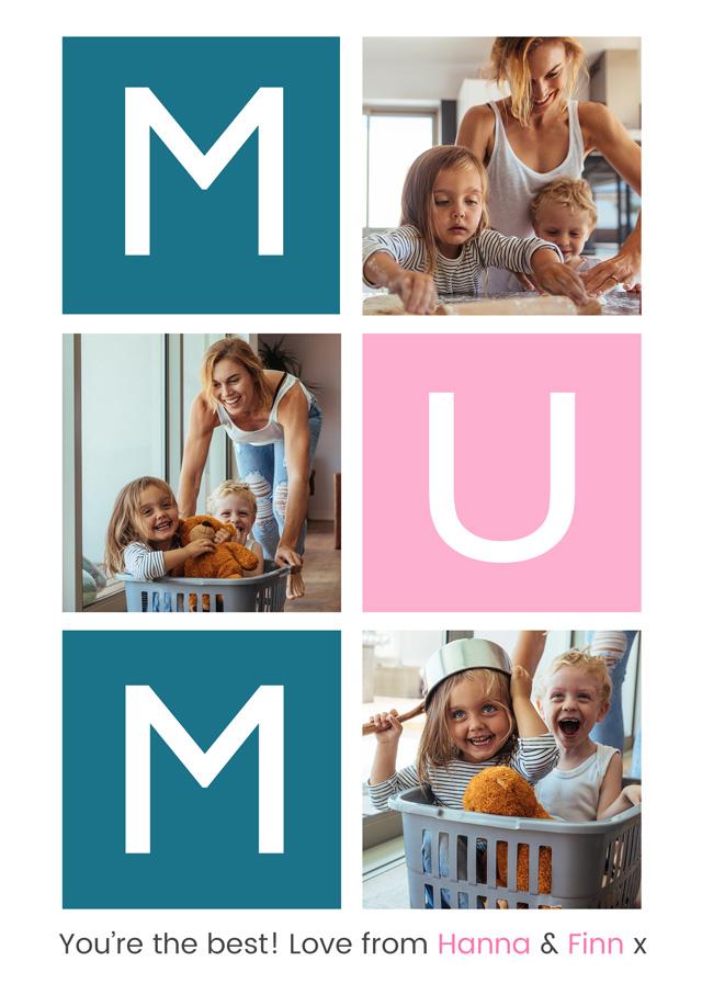 Create a Mum 3x Collage Photo Card