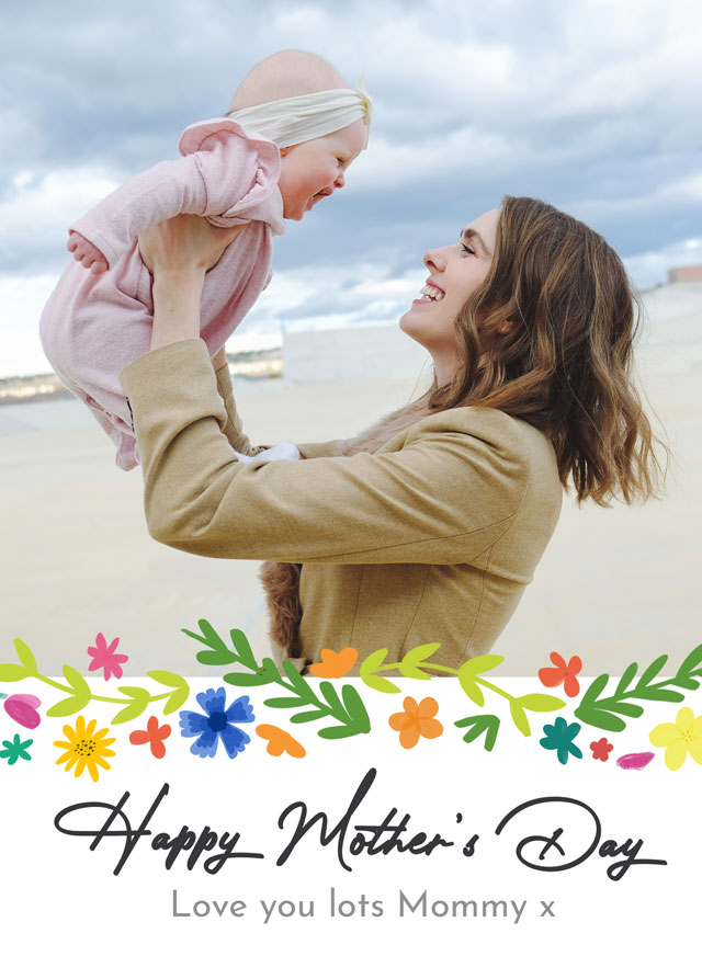 Create a Photo Mother's Day Card Modern Flower Pattern Photo Card