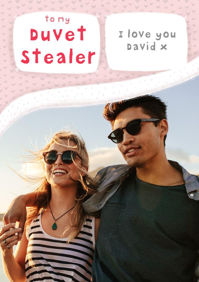 Create a Duvet Stealer  Photo Card