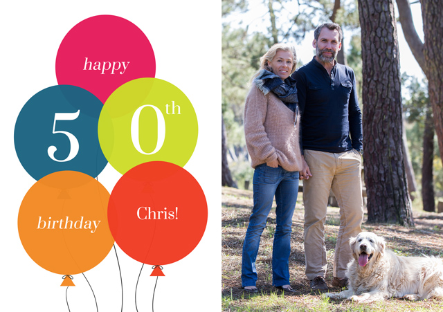 Create a Age Balloon 50 Photo Card