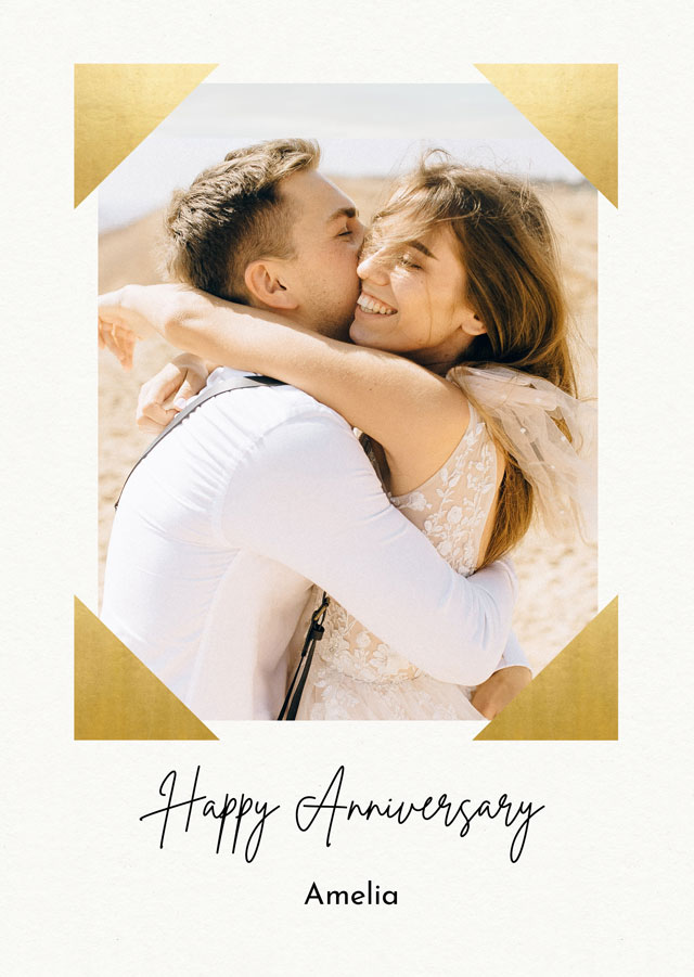 Create Anniversary Photo Card Foil Corners  Card