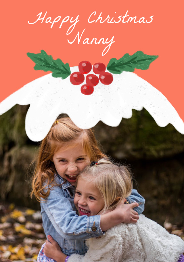 Create a Photo Christmas Card Xmas Pudding Photo Card