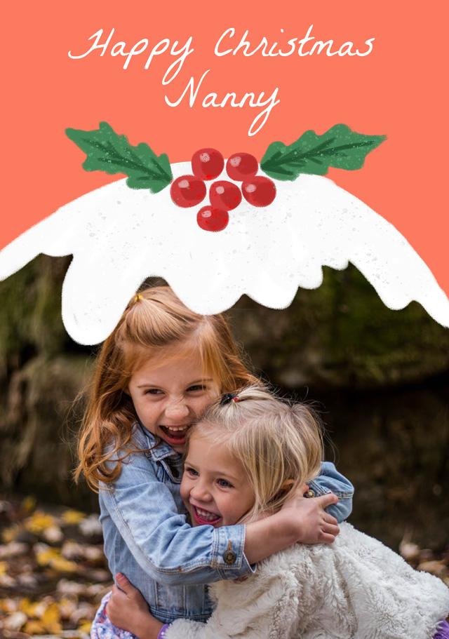 Create a Photo Christmas Card Xmas Pudding Greeting Card
