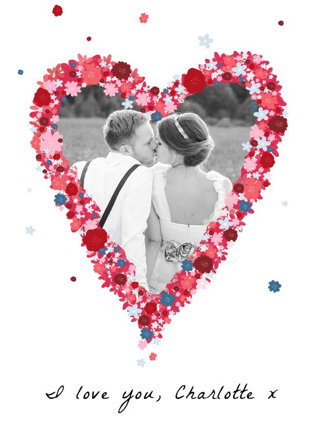 Create a Photo Card Love Flower Heart Photo Card