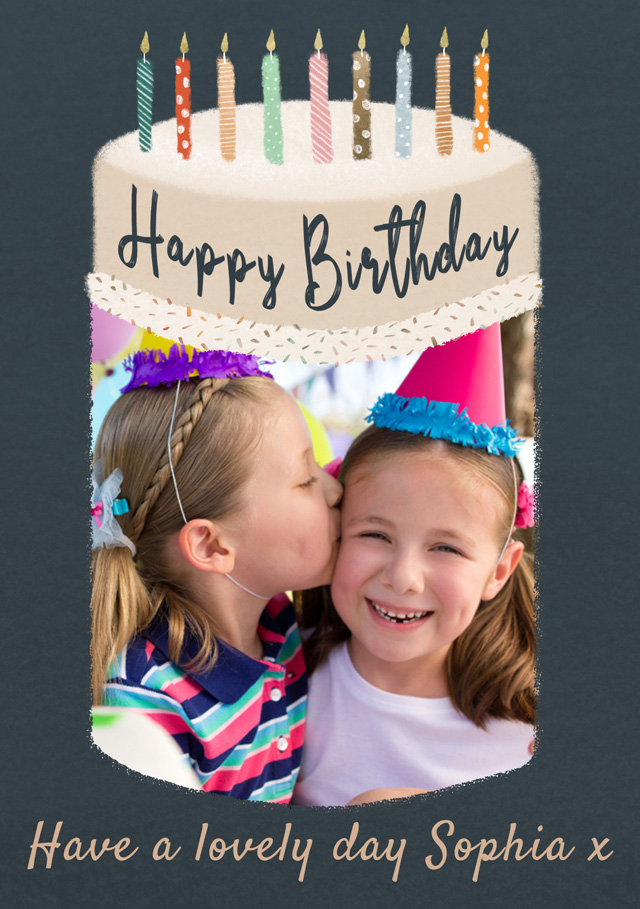 Create a Photo Birthday Card Big Birthday Cake Photo Card