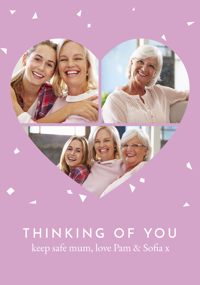 Create a Photo Thinking Of You Card Collage Heart Photo Card