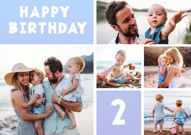 Create Photo Birthday Card 5 Collage Photos Milestone Card