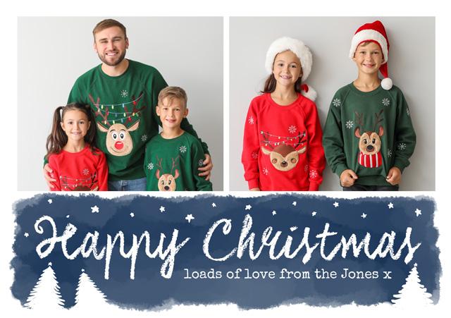 Create a Photo Christmas Card Collage Watercolour Script Photo Card