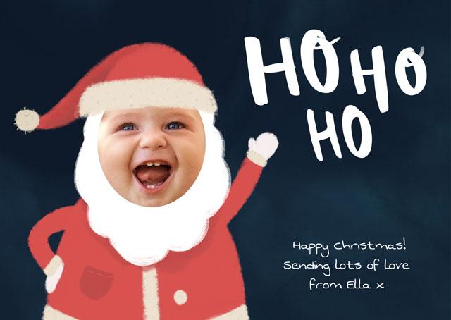 Create a Photo Christmas Card Ho Ho Ho Santa Greeting Card
