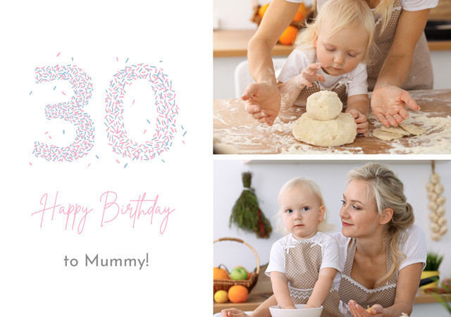 Create a Photo Card Birthday Milestone 30 Sprinkles Collage Photo Card