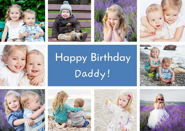 Create a Photo Card Birthday Collage 10 Photos Landscape Photo Card