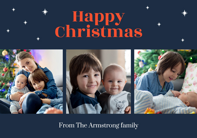Create a Photo Christmas Card Collage Stars Greeting Card